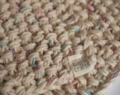 hand knit plushy cotton washcloth in speckled linen white