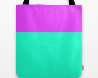 Women's Tote Bag Color Block  Orchid and Sea Green Canvas Bag Bridesmaids Gifts Back to School