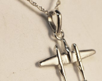 Silver or 14kt gold P38 Lightning Tietack/Pin/Pendant/Charm/Cuff Links
