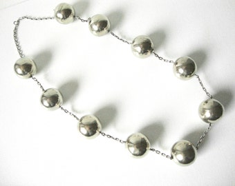 Vintage Sterling Silver Chain Link Necklace With Very Large Round Beads Made In Italy