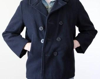 Vintage Mens Navy Pea Coat size L