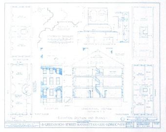 Greenwich Street in Manhattan Blueprint
