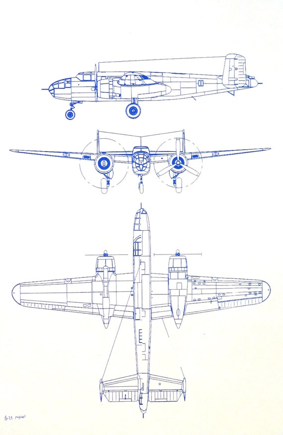 World war ii bomber b 25 mitchell blueprint by blueprintplace for Where to buy blueprint paper
