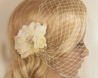 Bridal Veil, Wedding Veil, Bridal Comb, Face Veil, Birdcage Veil, mini veil, Blusher veil, lace Flower Fascinator, Head piece