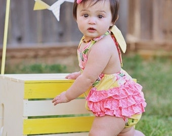 Adorable Girls Romper - Sun suit - Girls Ruffle Bottom Romper - Summer Outfit - Birthday outfit