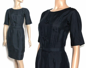 Vintage 1950s Dress//Mad Men// Marilyn Monroe Dress//Femme Fatale Black//Bymidnightsparkle//Party Dress 1950// Couture
