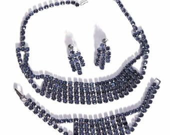 Vintage 1950s Blue Rhinestone Set Blue Rhinestone Earrings Bracelet Necklace Dress Garden Party Mad Men Rockabilly Retro