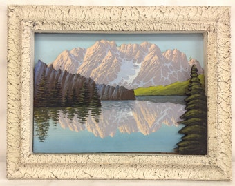 1950's 3D Painting Of Lake with Stuccoed Frame