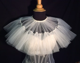 Heavenly Cloud Nine White Bridal Tulle Capelet/Cape