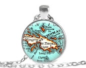 St. Thomas Virgin Islands necklace pendant charm, St. Thomas map charms, Christmas ornaments, Keychain gift, newlywed ornament, A155