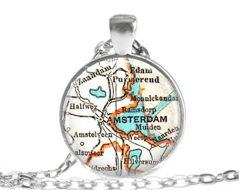 Netherlands, Amsterdam necklace pendant map charms, Amsterdam, The Nethelands map necklace, available as a money clip, A194
