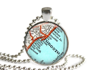 Toronto Canada necklace pendant charm, Canadian map charms, Toronto map necklace, Canada Jewelry, nana gift, A148