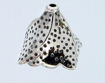 Sterling Silver Large Pyramid Twisted Bead Cap