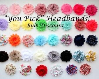 Pick *10* Headbands, Choose Colors & Elastic - Flower Headband Set - Bulk Headbands - Baby Girl Headband, Newborn Girl Headband