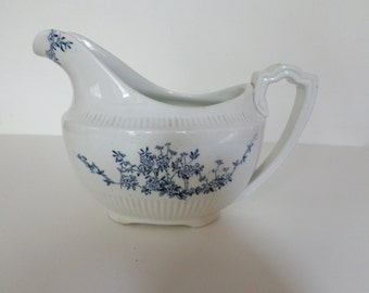 Vintage Sauce Bowl, Blue and White George Jones & Sons Gravy Bowl,