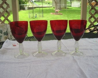 Set of Four Ruby Red Wine Glasses 1950,s