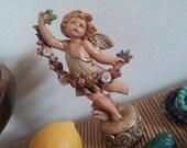 Rare Fontanini G. Simonett Spring Cherub Pedestal Figurine Four Seasons Series Flower Garden Angel 1990 #851 Depose Italy Sweet Fairy Wings