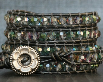 wrap bracelet- green plum clear faceted crystals on pewter leather - boho glam bohemian gypsy