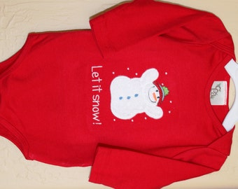 Christmas t-shirt, Christmas one piece, Winter t-shirt, Winter one piece, Let it Snow appliqued design, Ready to ship