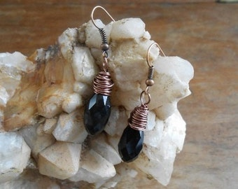 Black swarvoski faceted briolette wire wrapped in antique copper
