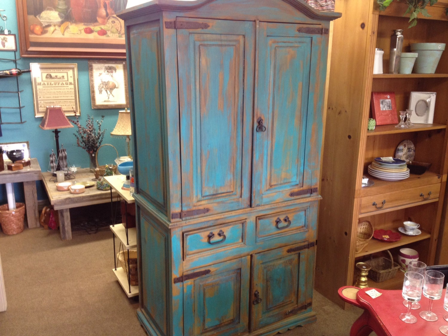 Wood distressed turquoise armoire hand-painted upcycled