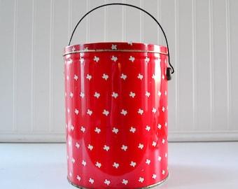 Vintage Texas Bucket - Metal Red and White Storage Tin