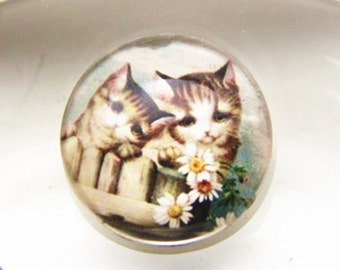 12 pcs of hand made cat glass cabochon 25mm-0999-CAT 2