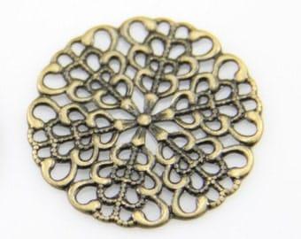 12 pcs of raw brass thick brass-25mm filigree-antique bronze