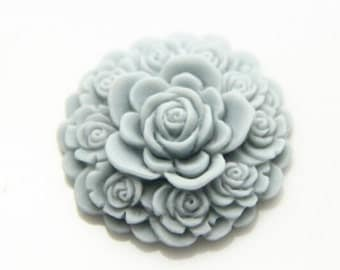 6 pcs of resin  flower cabochon 30mm round