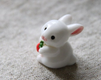 2 pcs cute 3D hand painted resin  bunny with carrot cabochon flat back  25mm tall-white