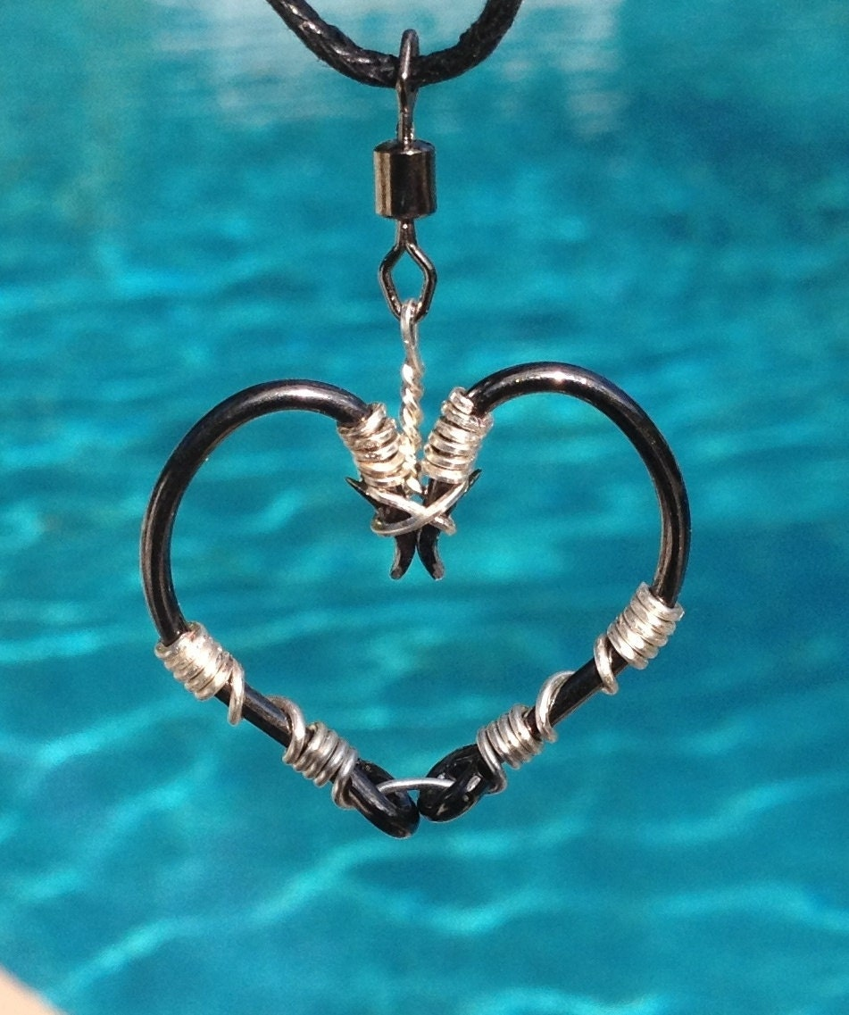 Fish hook heart necklace silver on black hooks for Fish hook necklace