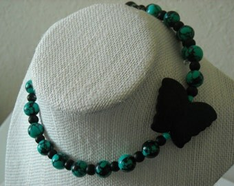 Large Black Magnesite Stone Butterfly,with Turquoise and Black Beaded Memory Wire Choker Necklace