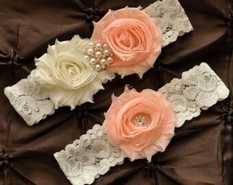 Wedding Garter, Bridal Garter Set - Ivory Lace Garter, Keepsake Garter, Toss Garter, Shabby Chiffon Light Peach Ivory Wedding Garter