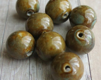 Bead, natural, clay, nugget Olive Green Chunky Round Slab Focal Beads - 8 pcs
