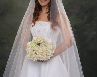 Light Ivory Circular Style Bridal Veil 2 Tier Wedding Veil Fingertip 48 Off White Illusion Ivory Tulle Two Layer Veils