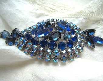 Vintage Juliana Sapphire Blue Brooch Large Dome Shape Blue Navettes AB Rhinestones Silver Tone Vintage Bride Something Blue Wedding Jewelry