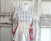 Winter Clearance -Blue White Floral Dress Romantic Clothing Eco Fashion Lagenlook Dress Upcycled Clothing