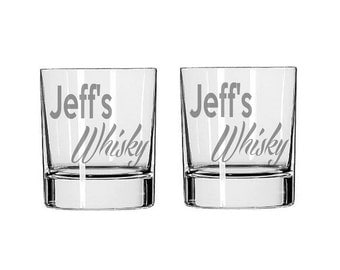 Personalized Whisky Glass  - Deep Etched Straight Sided Rocks Glass, Personalized Rocks Glass, Custom Whisky Glass, Double Old Fashioned