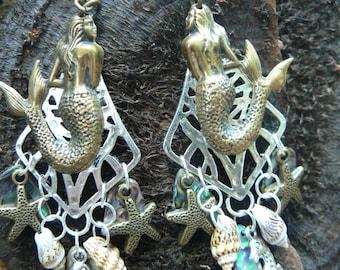 mermaid earrings,mother's day,sea goddess earrings, mermaid jewelry, siren, abalone,paua,resort wear,bohemian, high fashion, gypsy,boho