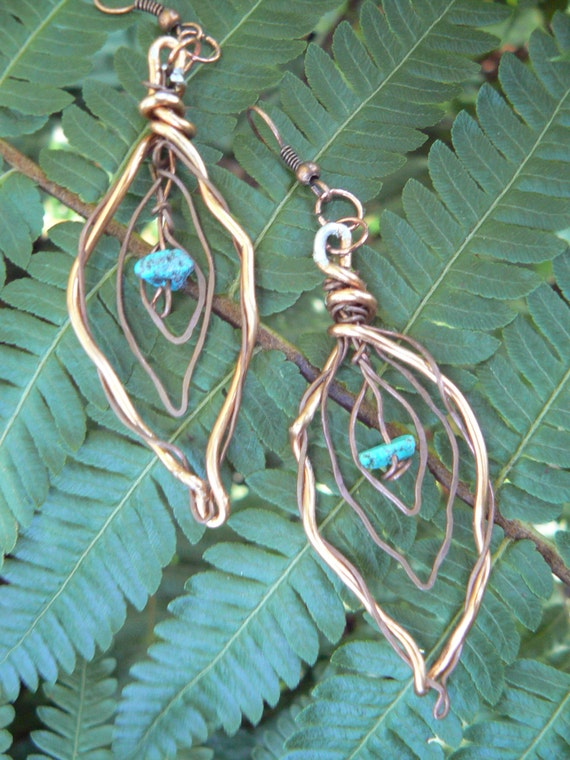 SALE copper wire leaf turquoise distressed copper leaf wire wrapped turquoise in gypsy boho hippie hipster tribal and sothwestern style