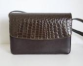 90s Faux Crocodile Purse / Vegan-Friendly Bag / Vintage Box Purse