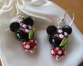 Minnie Mouse Earrings, Disney Earrings, Disney Cruise Earrings, Handmade Lampwork Beads, Animal Earrings, Mickey Earrings, Cruise Earrings