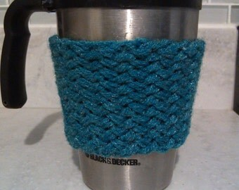 Hand Knit Teal Basket Weave Cabled Coffee Sleeve