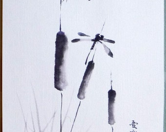 Chinese Painting Dragonflies Signed Print