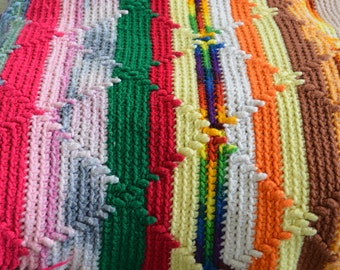 Multi-Colored Crocheted Afghan / Blanket