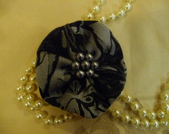 Black and Grey Brocade Hair Accessory Hairclip with silver pearls in centre, black silver hairclip