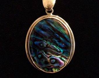 Sterling Silver Abalone Shell Aqua Blue Pendant