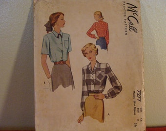 Vintage McCall's 1940s Shirt Pattern #7277 size 14