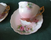 Vintage Miniature Tea Cups and Saucers floral with gold details
