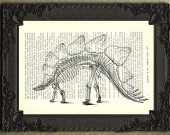 dinosaur art print dino print stegosaurus dinosaur skeleton